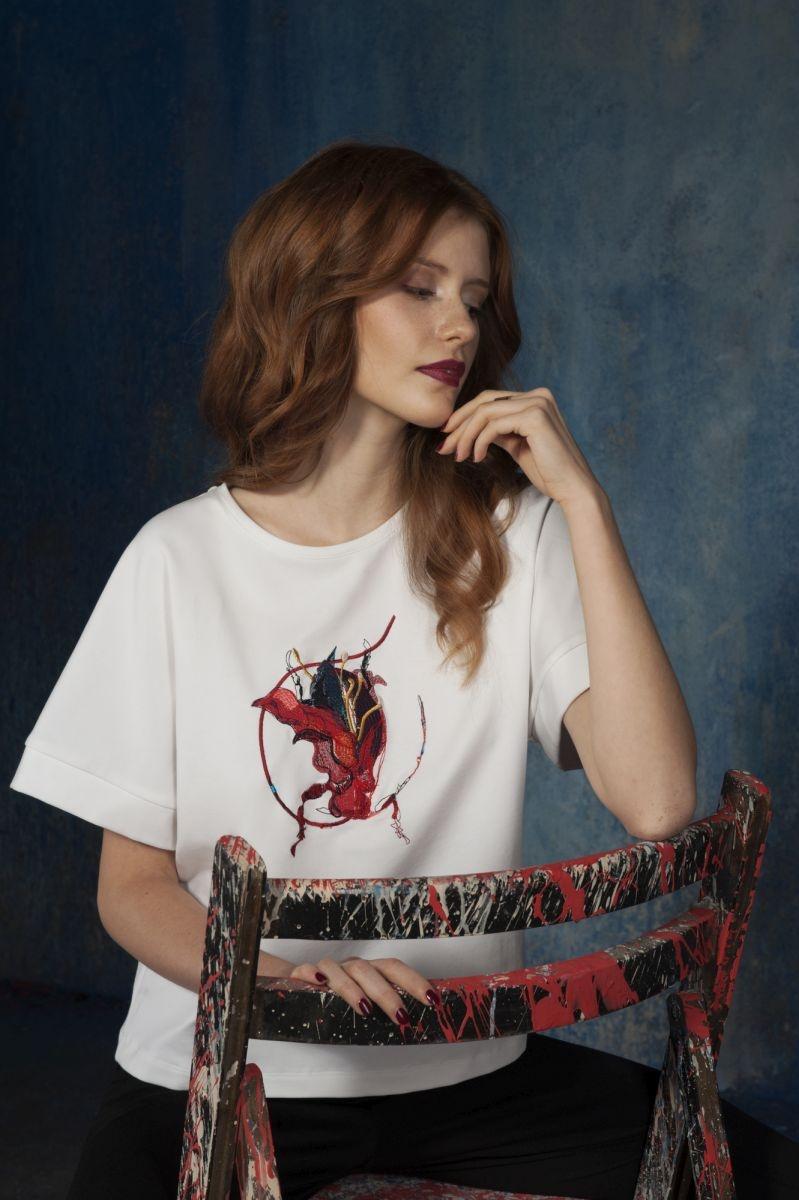 t-shirt kimono z haftem (czerwony)