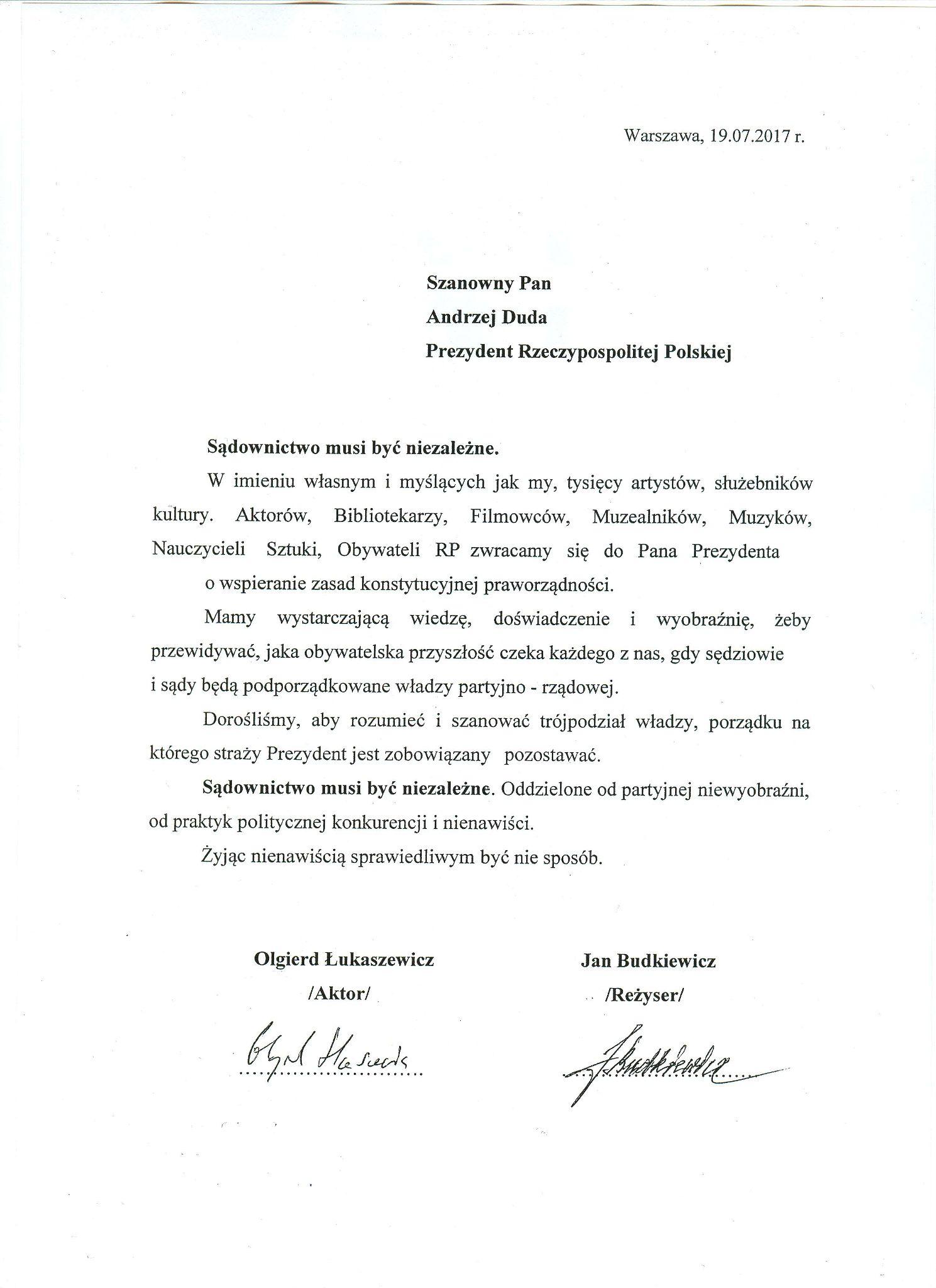 Olgierd Łukaszewicz: NIE MOŻNA MILCZEĆ - List do Prezydenta Andrzeja Dudy - BlogStar.pl
